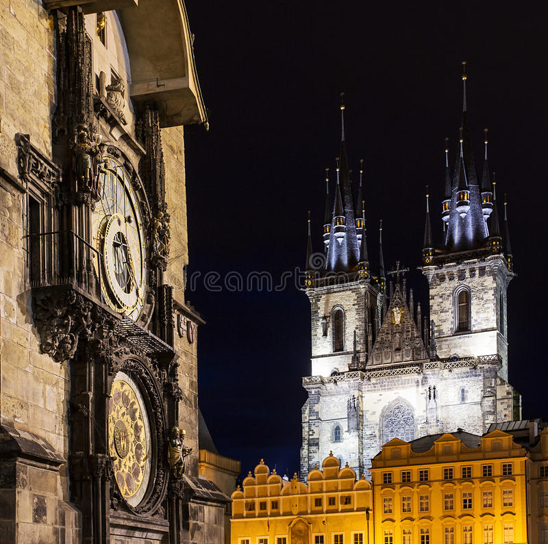 Prague Old Town, Astronomical clock, Tyn temple, old gothic and baroque buildings, square composition royalty free stock photos