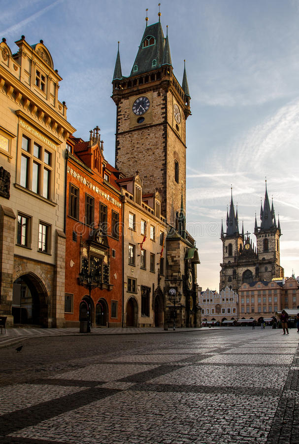 Prague, Old Town Hall Town Square and Church of our Lady Tyn in the morning. View old town square, town hall tower, Astronomical clock in Prague, Czech Republic royalty free stock photo
