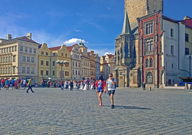 Prague, Old Town Square. PRAGUE, CZECH REPUBLIC - JUNE 2014,tourists stroll at Old Town Square in the heart of Old Town quarter of Prague. The square features royalty free stock photos