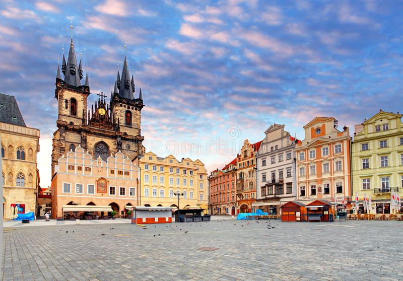 Prague Old town square, Tyn Cathedral.  royalty free stock photography
