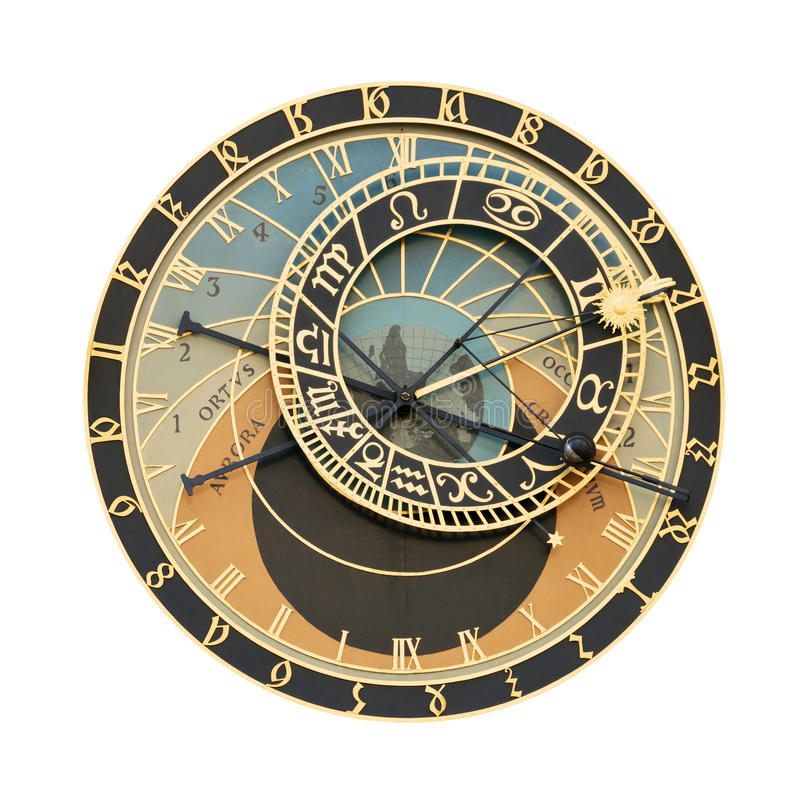 Prague Orloj astronomical clock cutout. Prague Orloj astronomical clock isolated on white with clipping path. For more on the topic please visit my collections royalty free stock photos