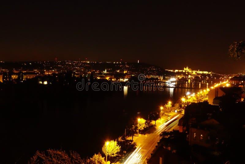 Prague på sent - natten royaltyfria foton