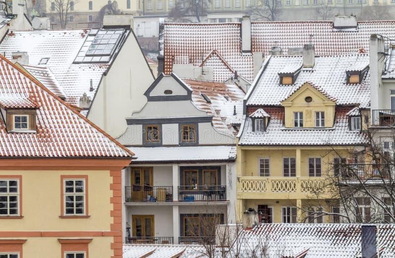 Prague på vintertid arkivfoton