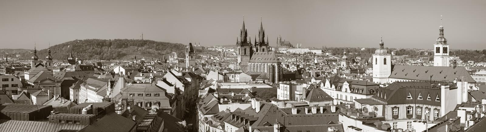 Prague - The panorama of the city with the Charles bridge and the Old Town  in evening light.  royalty free stock image