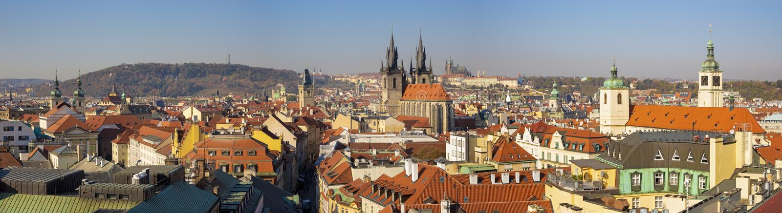 Prague - The panorama of the city with the Charles bridge and the Old Town  in evening light.  stock image