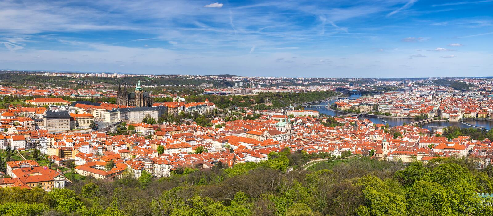 Prague panorama city skyline with Old Town, Prague Castle, Charles Bridge, St. Vitus Cathedral. Prague, Czech Republic royalty free stock images