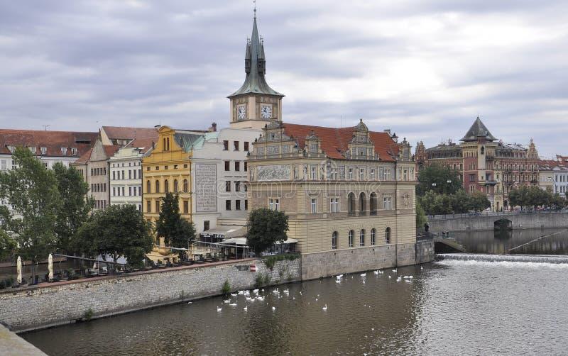 Prague Panorama over Vltava river in Czech Republic stock photo