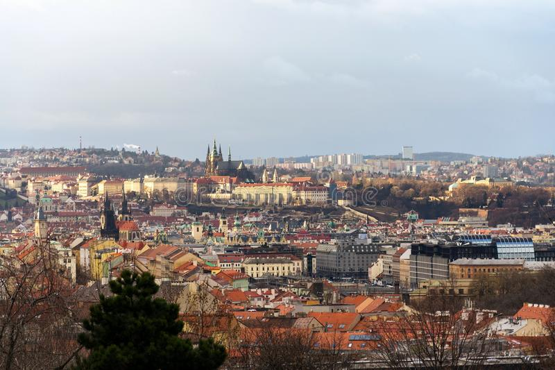 Prague panorama with St. Vitus Cathedral and Prague Castle - the biggest ancient castle in the world and residence of president. Czech Republic stock photography
