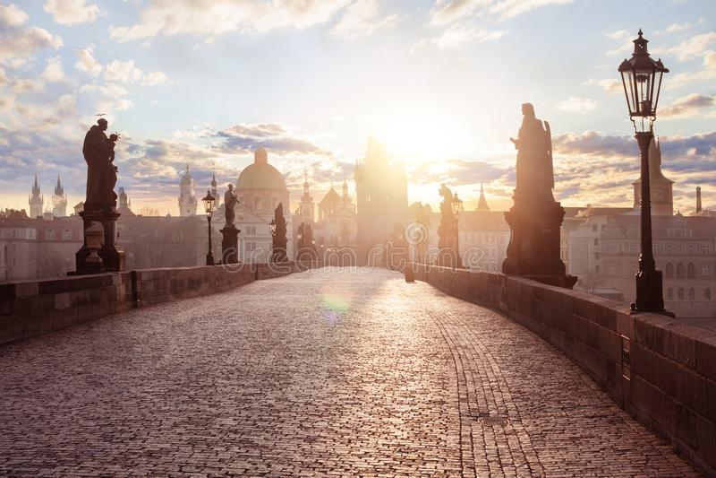 Prague panorama. Sunrise at Charles bridge.  stock photo