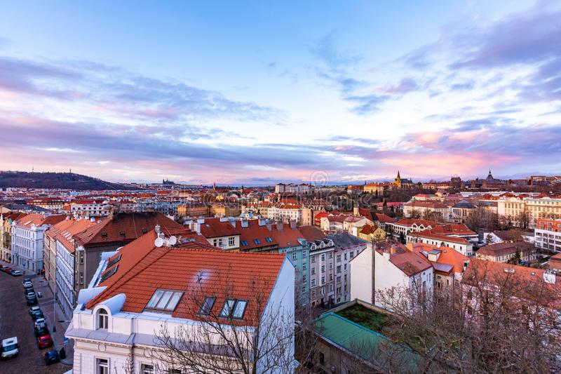 Prague panorama from Vysehrad castle. Cityscape during the sunset, magical and beautiful colors. Colorful clouds above the czech royalty free stock photos