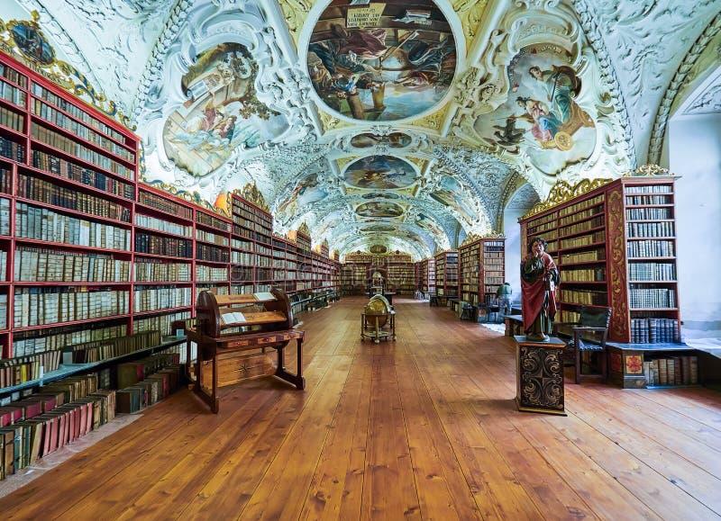 PRAGUE, RÉPUBLIQUE TCHÈQUE - 6 SEPTEMBRE 2017 Hall mathématique de la bibliothèque de couvent de Strahov, Prague, République Tchè photos stock