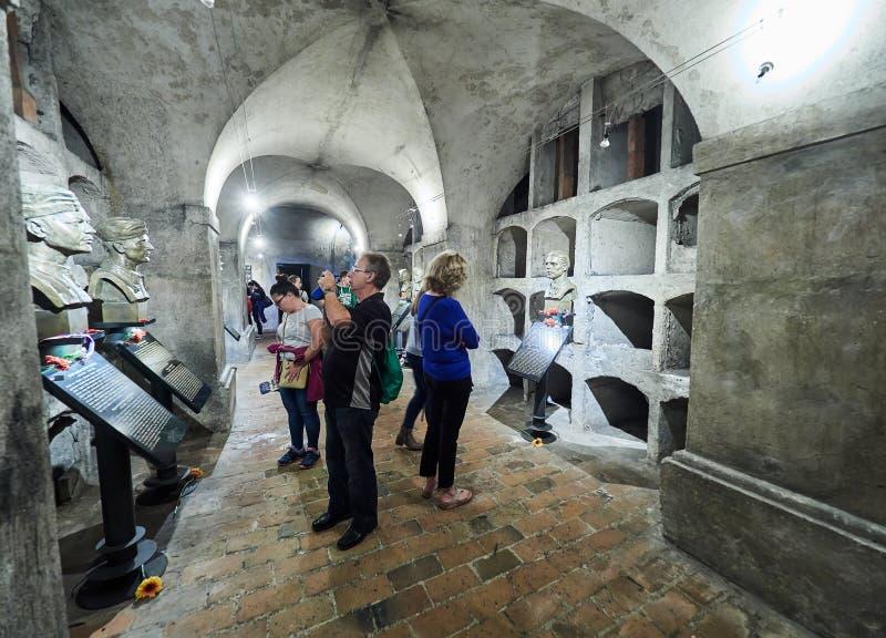 PRAGUE, RÉPUBLIQUE TCHÈQUE - 4 SEPTEMBRE 2017 St Cyrille et crypte de Methodius - mémorial de terreur de Heydrich, Prague, Républ photos stock