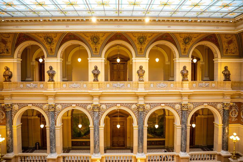 Prague, R?publique Tch?que - 6 05 2019 : Interier de Mus?e National dans le style de la n?o--Renaissance, r?cemment r?nov? en 201 image stock