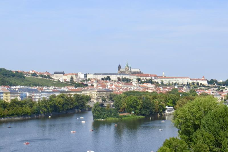 Prague and the River From Up royalty free stock image