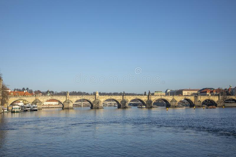 Prague with river Vltava and Charles bridge royalty free stock images
