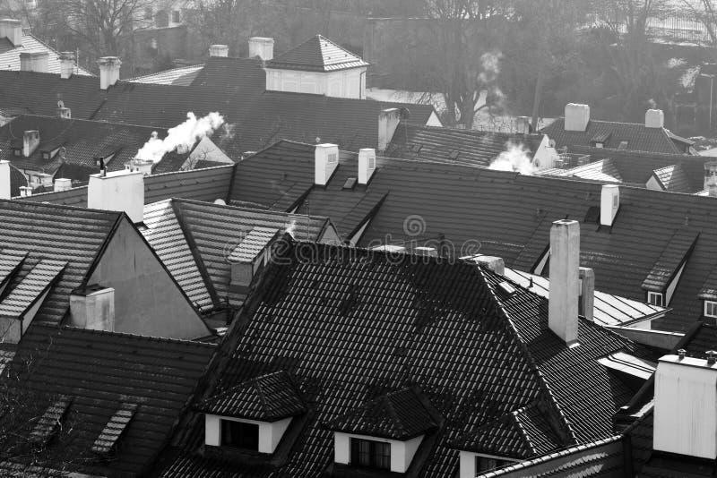 Prague. Romantic Prague roofs in winter royalty free stock image