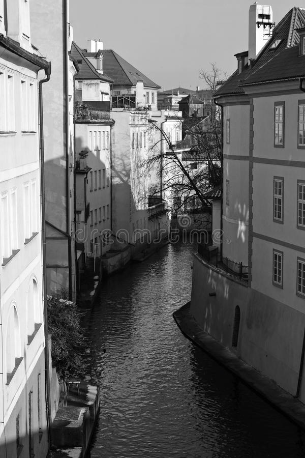 Prague. Romantic streets in old Prague and Certovka river stock photography