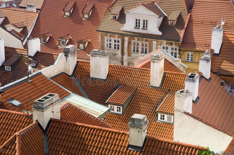 Prague roofs detail stock photography