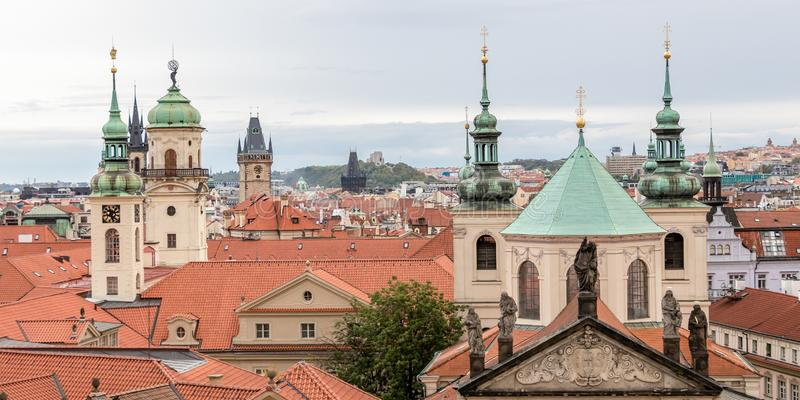 Prague rooftops. Golden City of a Thousand Spires stock images