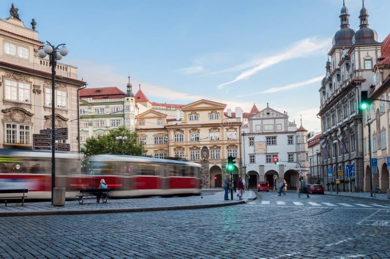 Prague, rues de République Tchèque, Tarmvay, belle vue 2017-09-12 photo libre de droits