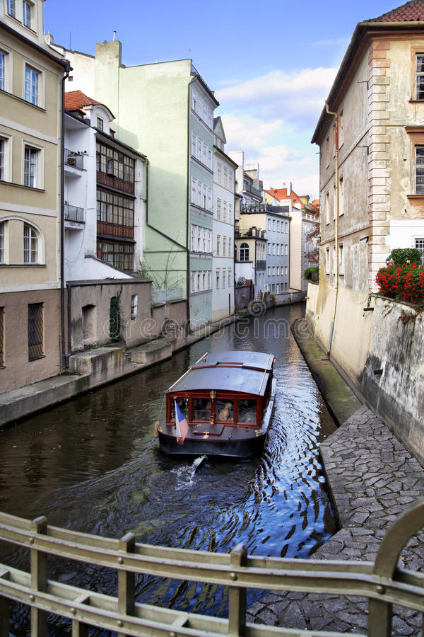 Prague's canal. Narrow canal and boat at Prague. Czech Republic stock photo