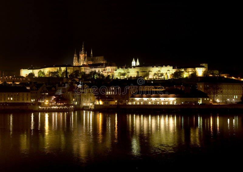 Prague's castle at night royalty free stock photos