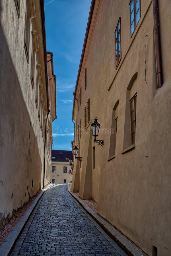 Prague`s long and narrow aisle stock photography