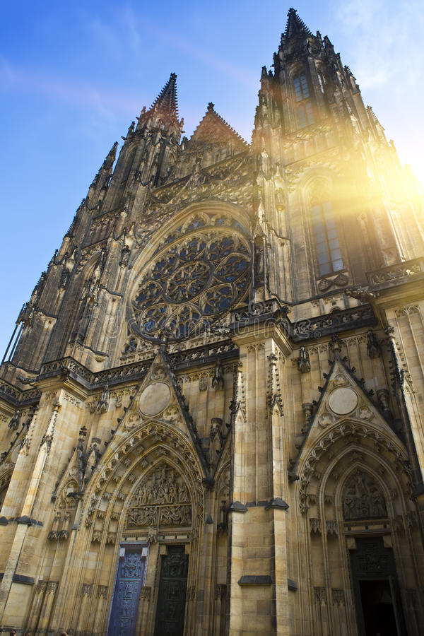 Prague. Saint Vitus cathedral. In a sunny day royalty free stock images