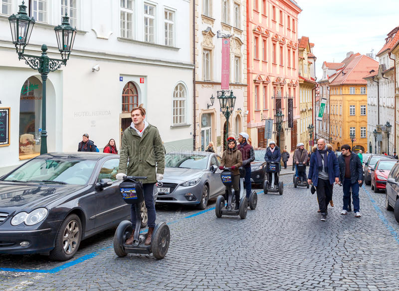 Prague. Segway tour stock photo