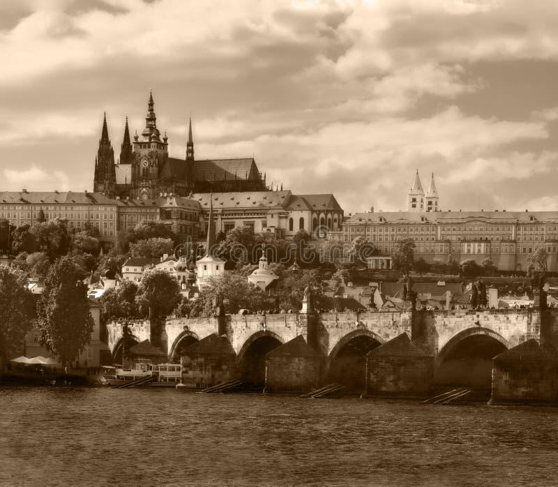 Prague. Sepia Royalty Free Stock Photography