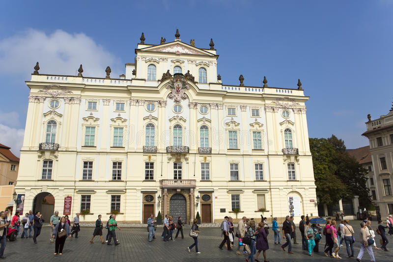 PRAGUE, SEPTEMBER 15: Archbishop`s Palace on the Castle Square near the main entrance in The Prague Castle on September 15, 2014 i. N Prague, Czech Republic stock photos