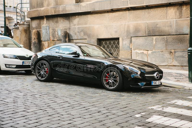 Prague, September 21, 2017: A modern, reliable sports turbocharged Mercedes car is parked on the city street. Luxury car.  royalty free stock photos