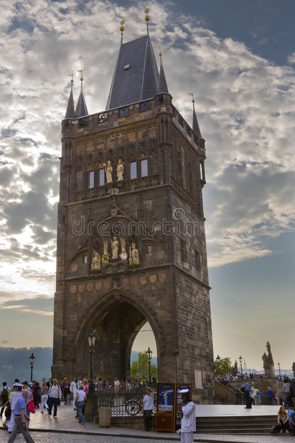 PRAGUE, SEPTEMBER 15, 2014: Tower at an entrance on Charles BridgeKarluv Most , Prague, Czech Republic stock photo