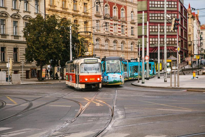 Prague, September 23, 2017: Trams are riding down the street in the city. Traditional street public transport in Europe. stock photography