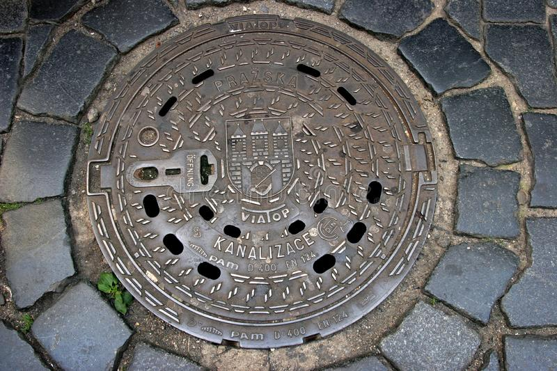 Prague sewer manhole stock photo