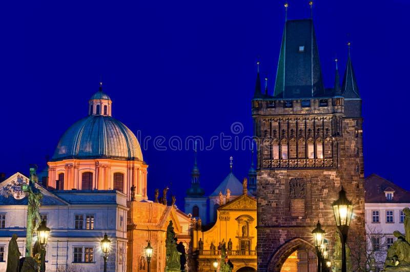 Prague skyline at night stock image
