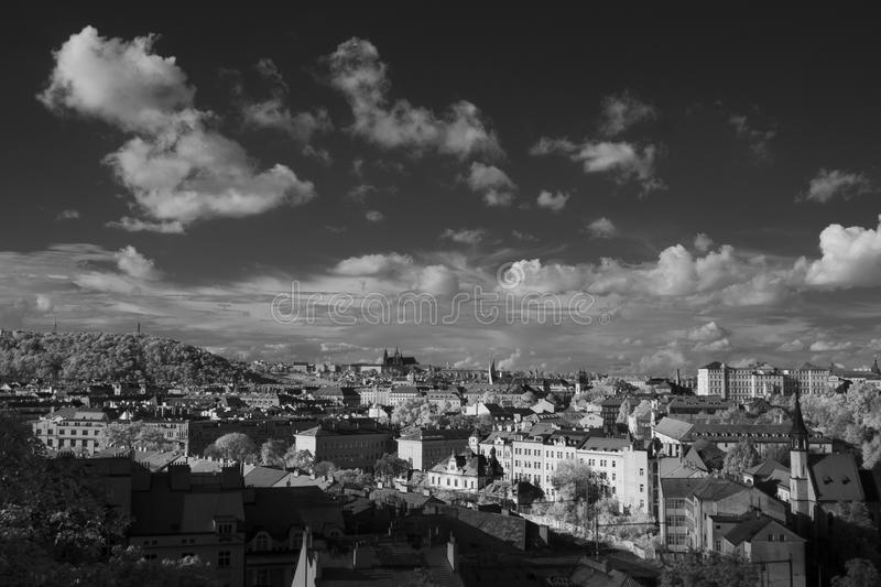 Prague skyline with St. Vitus Cathedral in the background. Black and white infrared photography - Prague skyline with St. Vitus Cathedral in the background royalty free stock photography