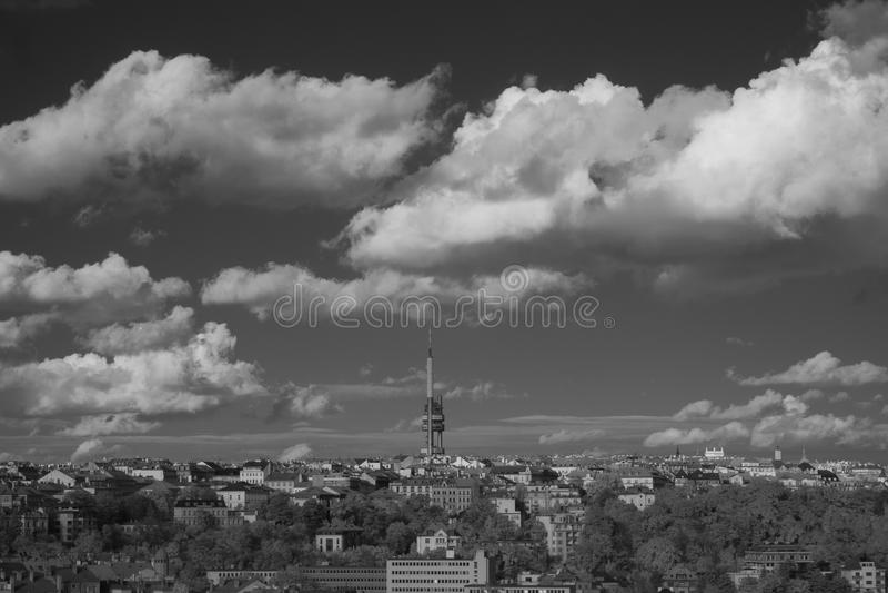 Prague skyline with Zizkov Television Transmitter Tower, Czech R. Infrared view of Prague skyline with Zizkov Television Transmitter Tower, Czech Republic stock photos