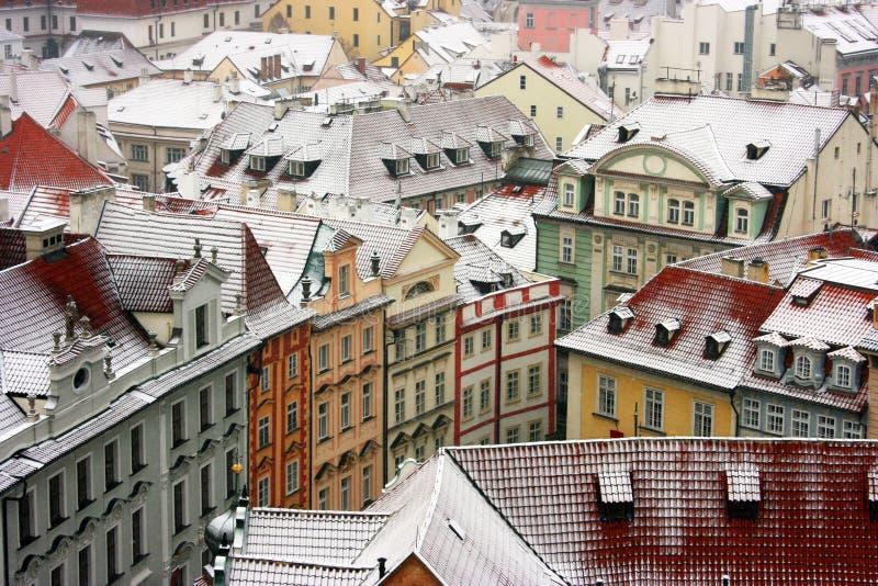 prague snow under royaltyfri bild