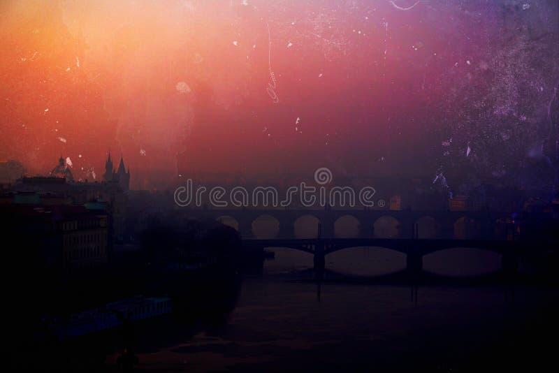 Prague solnedgång arkivfoto