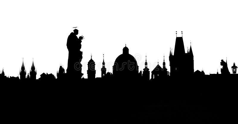 Prague står högt konturer från Charles Bridge royaltyfri illustrationer