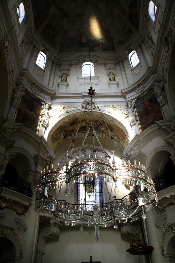 Prague. St. Nikolas church stock images