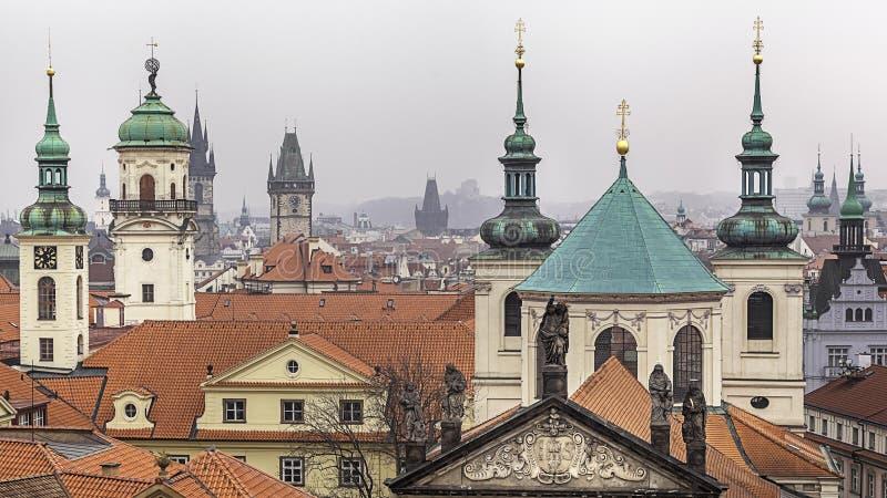 Prague staden av hundra tornspiror royaltyfria foton