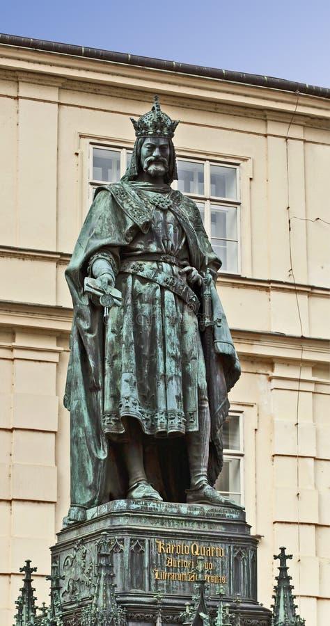 Prague, staty av den Charles droppen, heliga Roman Emperor och konung av Boh royaltyfria foton
