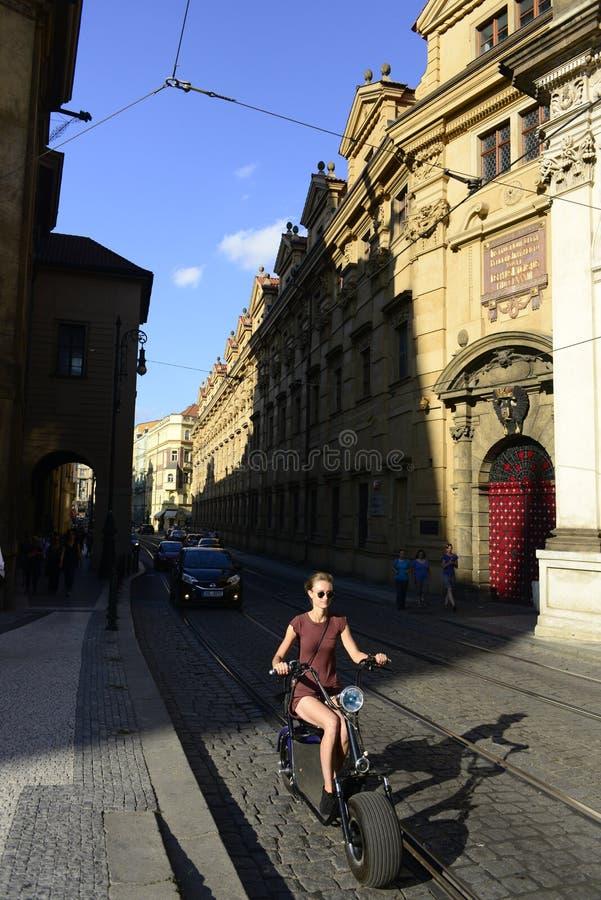 Prague steet view along tram rails stock photo