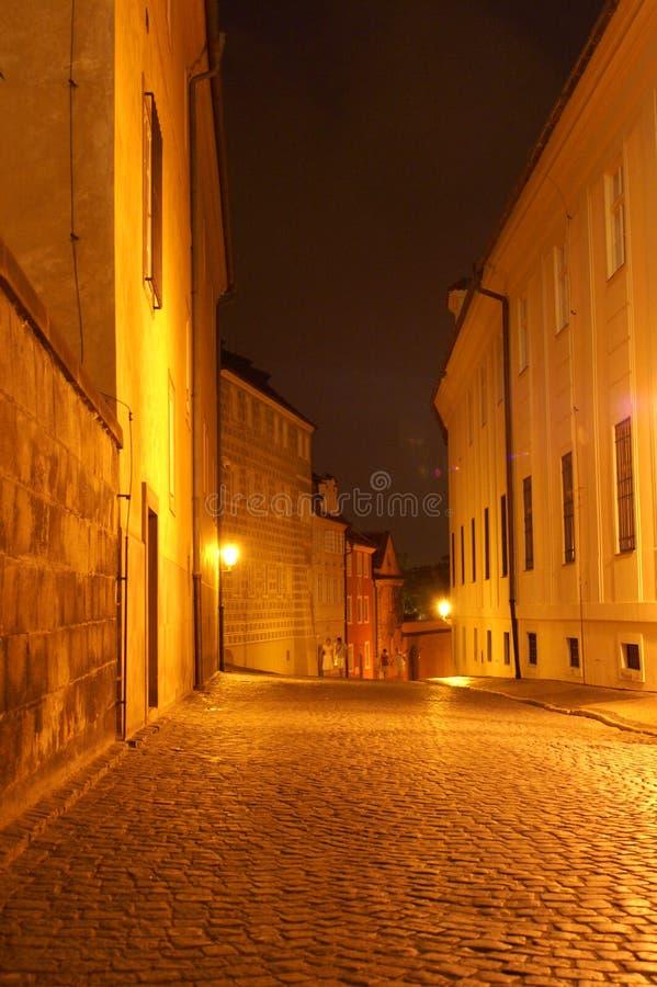 Prague Street At Night Stock Images