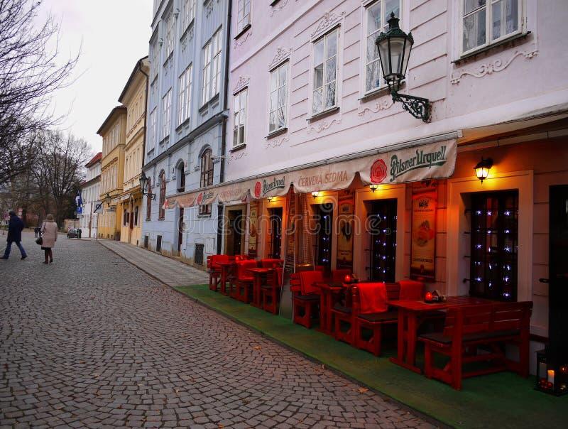 Prague Street Twilight stock image