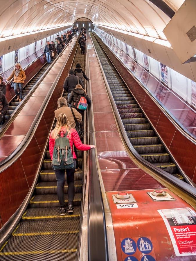 Prague subway escalator. PRAGUE, CZECH REPUBLIC - MARCH 5 2017: Tunnel with subway escalator stock photo