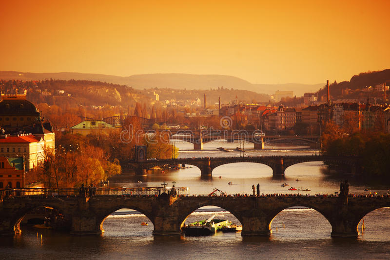 Prague sunrise. Sunrise in prague karlov bridge in morning sunlight royalty free stock photo