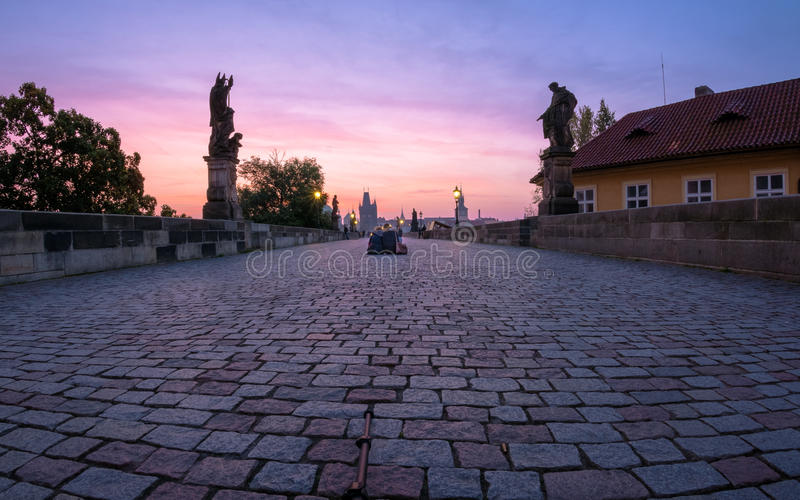 Prague sunrise watching. stock images